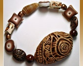 Tribal Fossil Bracelet with Freshwater Pearls, polymer clay jewelry