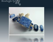 Sale Polymer Clay Denim Blue Floral Bracelet , Jewelry