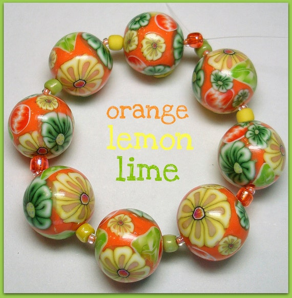 8 Orange Lemon Lime Tropical Flower Beads Polymer Clay