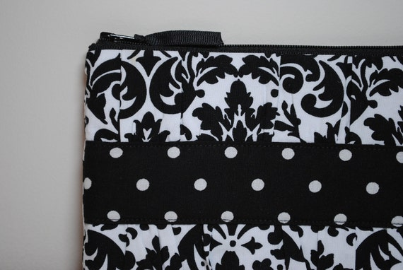 Gathered Clutch in White and Black Damask