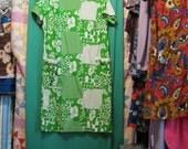 SALE - Green & White Funky Faux Patchwork Dress (L/XL)