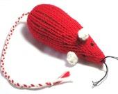 Knit Catnip Mouse Cat Toy is Bright Red with White Ears