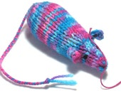 Catnip Mouse Cat Toy in Bright Cotton Candy Colors