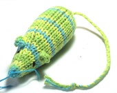 Knit Catnip Mouse Cat Toy in Bright Green and Blue Cotton