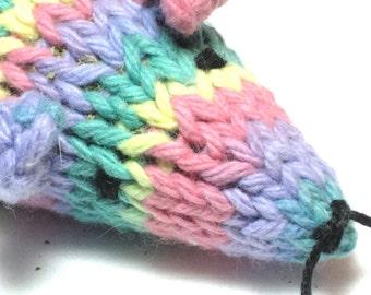 Knit Catnip Mouse Cat Toy of Soft Pastel Rainbow Cotton Yarn