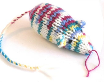 Knit Catnip Mouse Cat Toy in Bright Acrylic Yarn