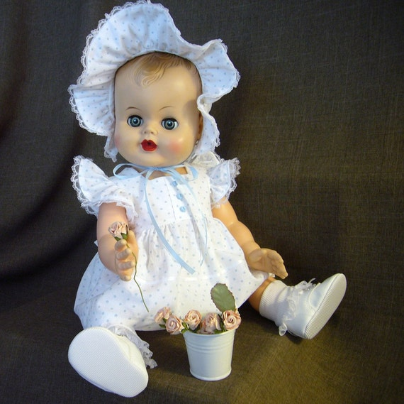 """Vintage '50's' Sweet 20"""" Molded Hair Vinyl Baby Doll With Sleep Eyes and Two New Handmade Outfits"""