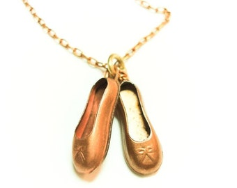 Twinkle Toes Pendant-Vintage brass charm ballet slippers