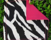 Zebra and Hot Pink Travel Baby Blanket