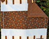 Blue and Brown Stars, Stripes and Dots Travel Baby Blanket