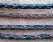 Hand braided leather cord, 4-strand