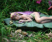 Sleeping Fairy on a Leaf Concrete Miniatures for Fairy Gardens