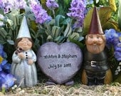 Custom Gnomes Wedding Cake Toppers - 3 Piece Set Personalized with Your Colors