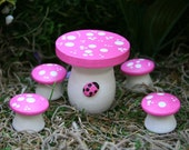 Fairy Garden Furniture - 5 Piece Mushroom Table & Chairs Set