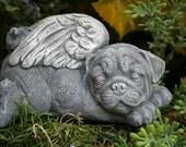 Angel Pug Statue - Pet Memorial Dog Garden Sculpture
