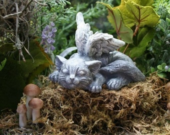 "Angel Cat Statue ""Sweet Serenity"" Cat Memorial Garden Sculpture"