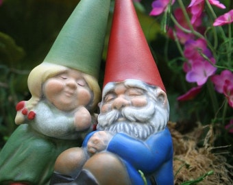 Miniature Garden Gnomes In Love  Mr & Mrs Gnome Couple