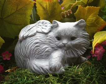 Cat Angel Statue With Long Hair - Pet Memorials