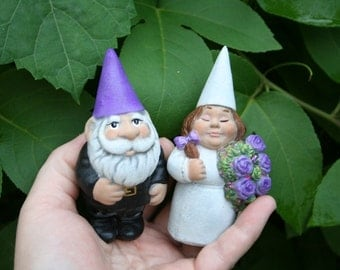 Wedding Gnomes - Garden Gnome Couple - Mr & Mrs Wedding or Shower Cake Topper