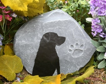 Memorial Stone Dog - Custom Hand Painted Silhouette of Your Pet