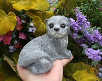 Baby Otter Concrete Art Sculpture - Woodland Garden Ornaments Animal Statue