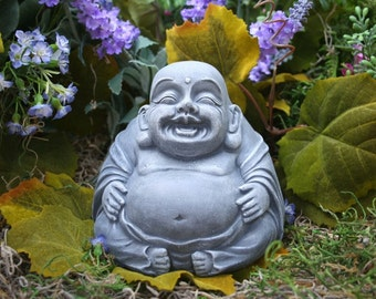 Buddha Statue - Happy Concrete Decor for Your Zen Garden