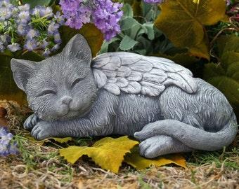Angel Cat Statue - Cat Memorial Garden Sculpture in Concrete
