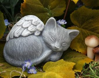 Angel Cat Statue - Pet Memorial Marker