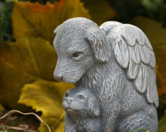 "Angel Dog  -  Pet Memorial - ""The Guardian"" - Solid Concrete Dog Statue"