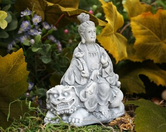 Kwan Yin on Lion Foo Dog - Concrete Goddess Statue