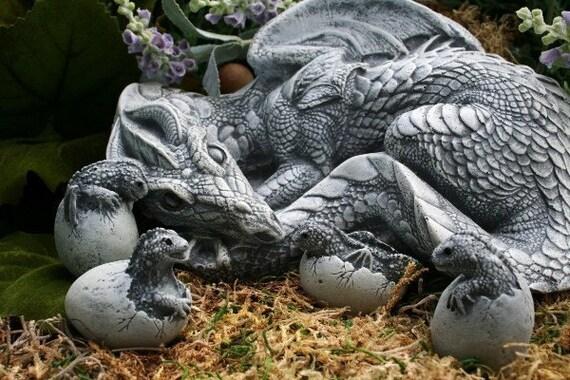 Dragon Sculpture Handmade Fantasy Garden Concrete Art