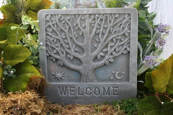 Welcome Sign The Tree of Life Outdoor Garden Plaque Sign