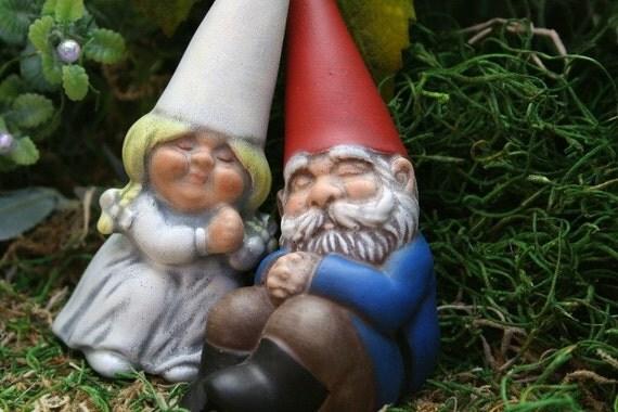 Gnome In Garden: Gnomes Cake Topper Custom Wedding Garden Gnomes