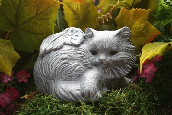 Cat Angel Statue With Long Hair - Pet Memorials