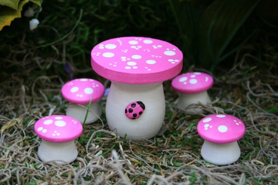 Fairy Garden Furniture - 5 Piece Mushroom Table & Chairs Set