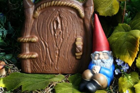 """Fairy Door - """"Wooden"""" Fairy Door for Your Fairy Garden - Looks Like Wood but Made of Solid Concrete - Fairy Garden Decor"""