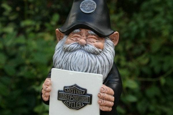 Gnome Garden: BIKER GARDEN GNOME Loves His Harley Davidson Personalized