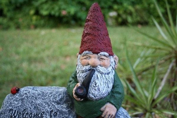 Gnome Garden: PIPE SMOKING GARDEN GNOME Concrete Statue Rein By PhenomeGNOME