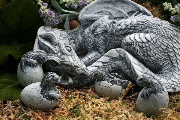 Dragon Sculpture Handmade Fantasy Garden Concrete Art