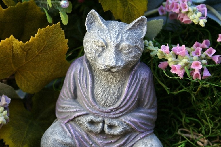 Cat Buddha Statue Meditate With Nirvana The Wise By