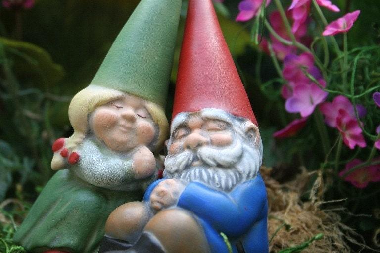 Gnome Garden: Miniature Garden Gnome Couple Gnomes In Love Mr & Mrs Gnome
