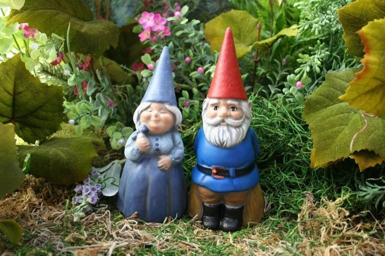 Gnome Garden: Garden Gnomes Couple Concrete Fairy Garden Art By PhenomeGNOME