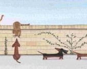 Dachshunds (doxies)  and cats on a walk / Lynch signed folk art print