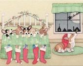 Cards: Pembroke Welsh Corgis snug in their beds on Christmas Eve / Lynch folk art