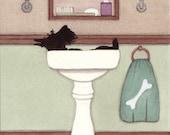 Scottish terrier (scottie) bathing in a sink / Lynch signed folk art print