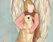 Golden Retriever with Angel / Lynch signed folk art print