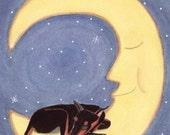 Doberman pinscher sleeping on moon / Lynch Signed Folk Art Print
