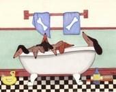 Dachshunds (doxies) fill tub at bath time / Lynch signed folk art print Weiner/Wiener Dog