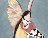 Harlequin Great Dane with angel / Lynch signed folk art print