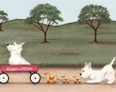 West highland terriers (westies) wait for wagon ride / Lynch signed folk art print
